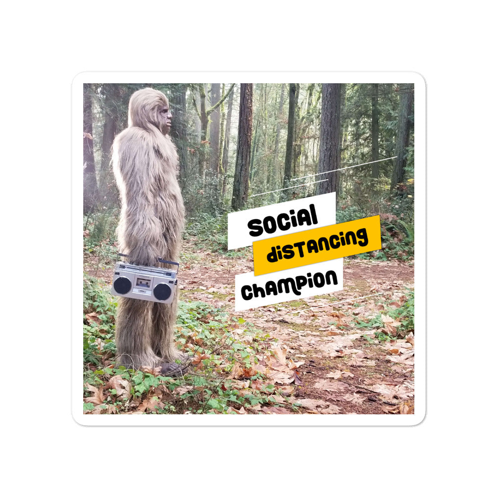 Social Distancing Champion Bigfoot Stickers