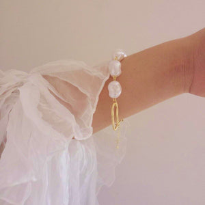 Pearls Gold Metal Link Chain Bracelets