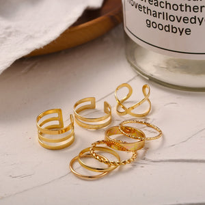 8 Pcs/Set Round Gold Rings