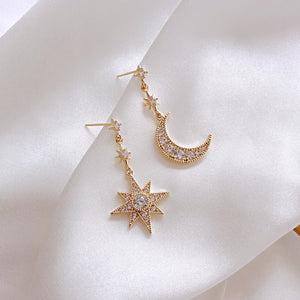 Star-moon Asymmetric Earrings