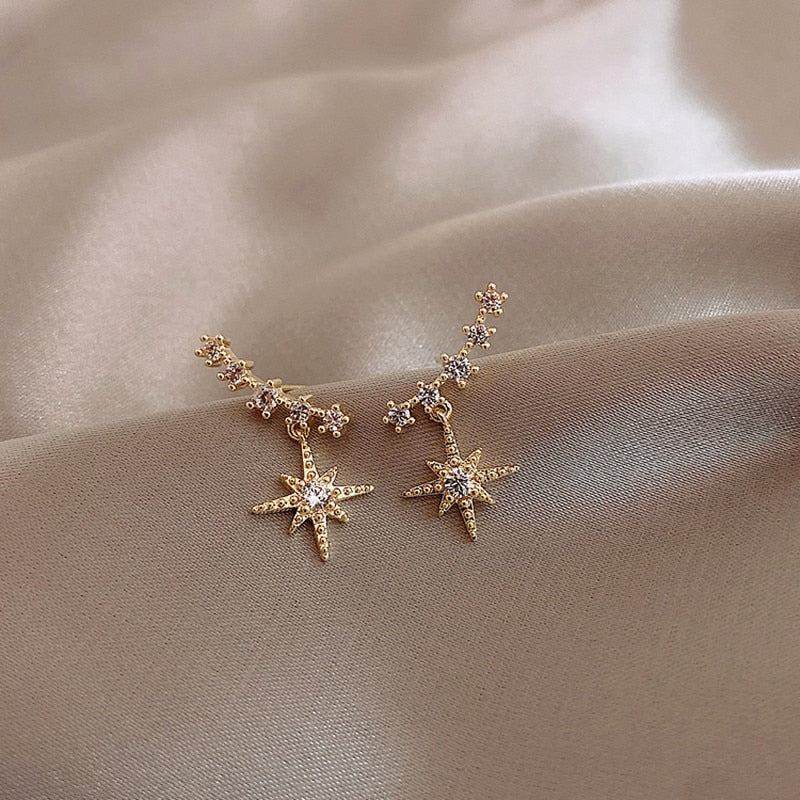 Delicate crystal Star Earrings