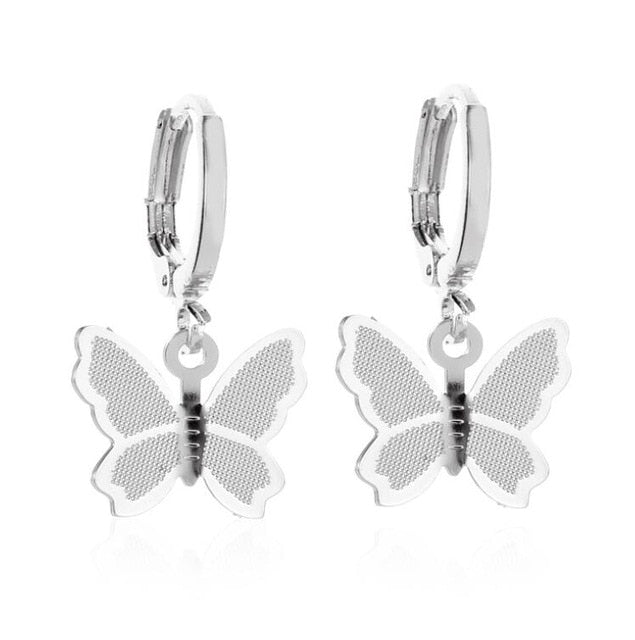 Zircon butterfly earrings
