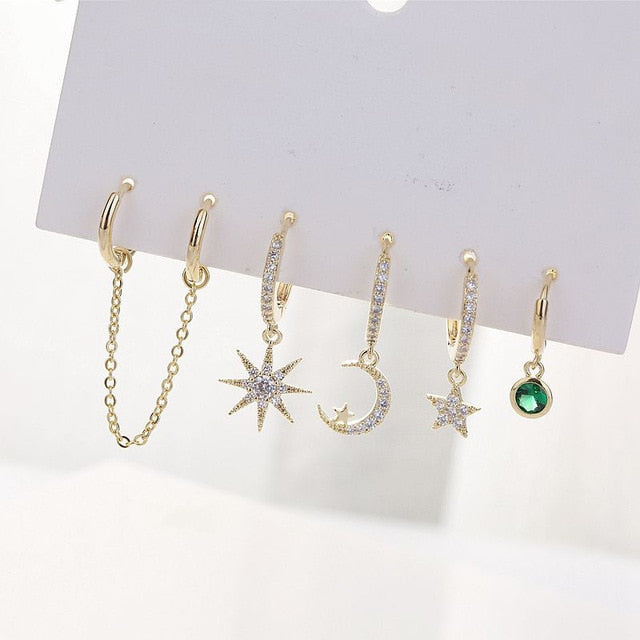 Star And Moon Earrings Set