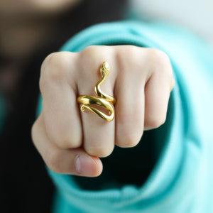 Retro Punk Gold Snake Ring