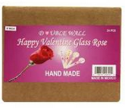 "HAPPY VALENTINE 4"" DBL WALL GLASS ROSE 4 INCHES 36CT"