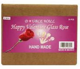 "HAPPY VALENTINE 6"" DBL WALL GLASS ROSE 6 INCHES 24CT"