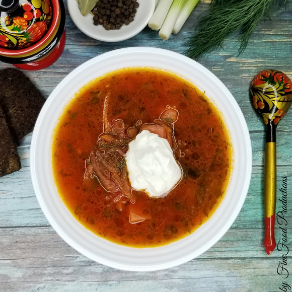 Classic Borscht with meat (aka Red Beets soup) - 32 oz