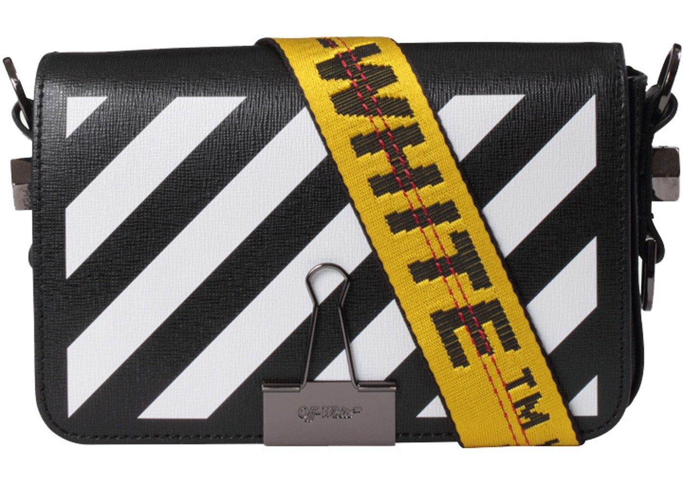 OFF-WHITE Binder Clip Bag Diag Mini Black White Yellow - CookiesandKicksLA