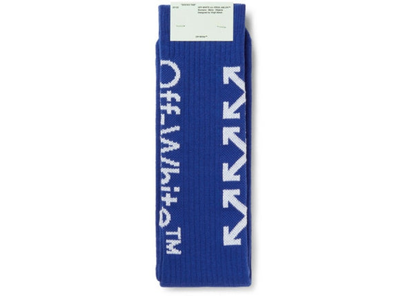 OFF-WHITE Glittered Logo Intarsia Stretch Socks (SS19) Blue/White - CookiesandKicksLA