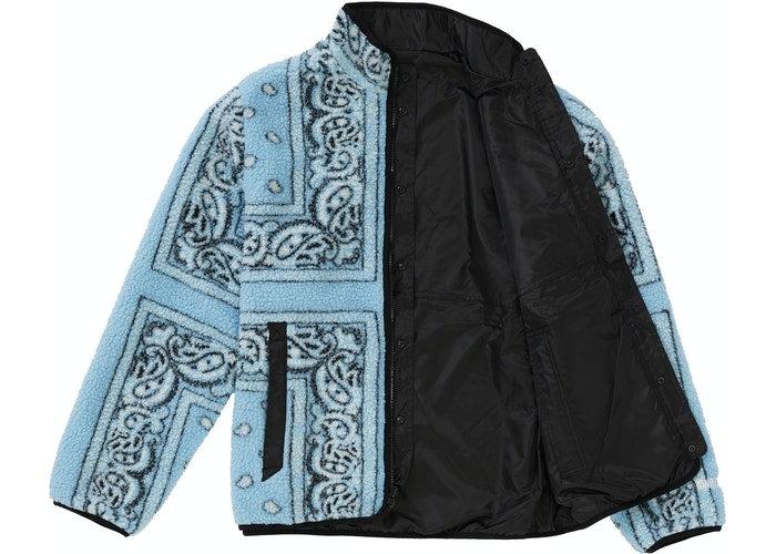 Supreme Reversible Bandana Fleece Jacket Light Blue