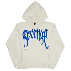 Revenge Blue Embroidered Hoodie White