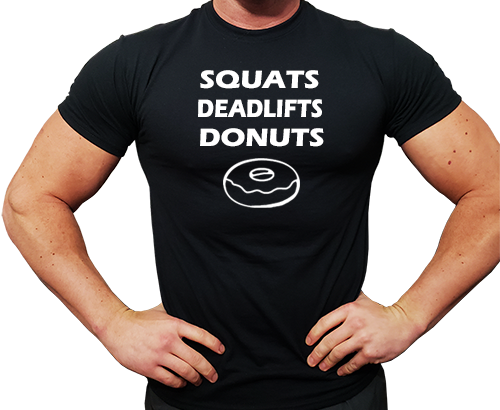 Squats Deadlifts Donuts Black T-Shirt