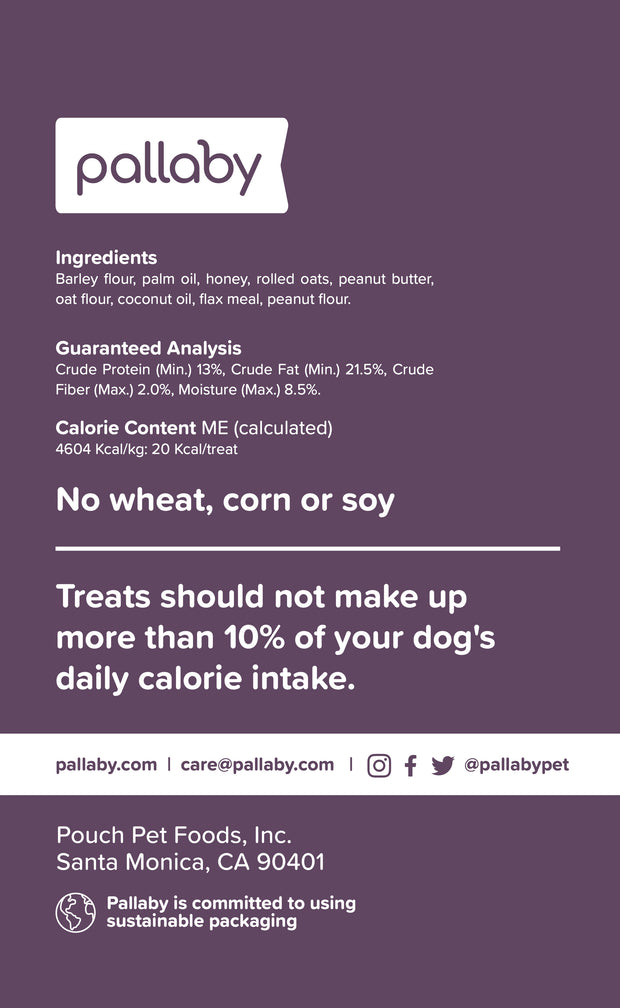 pallaby premium dog treats - honey + oat + peanut butter recipe