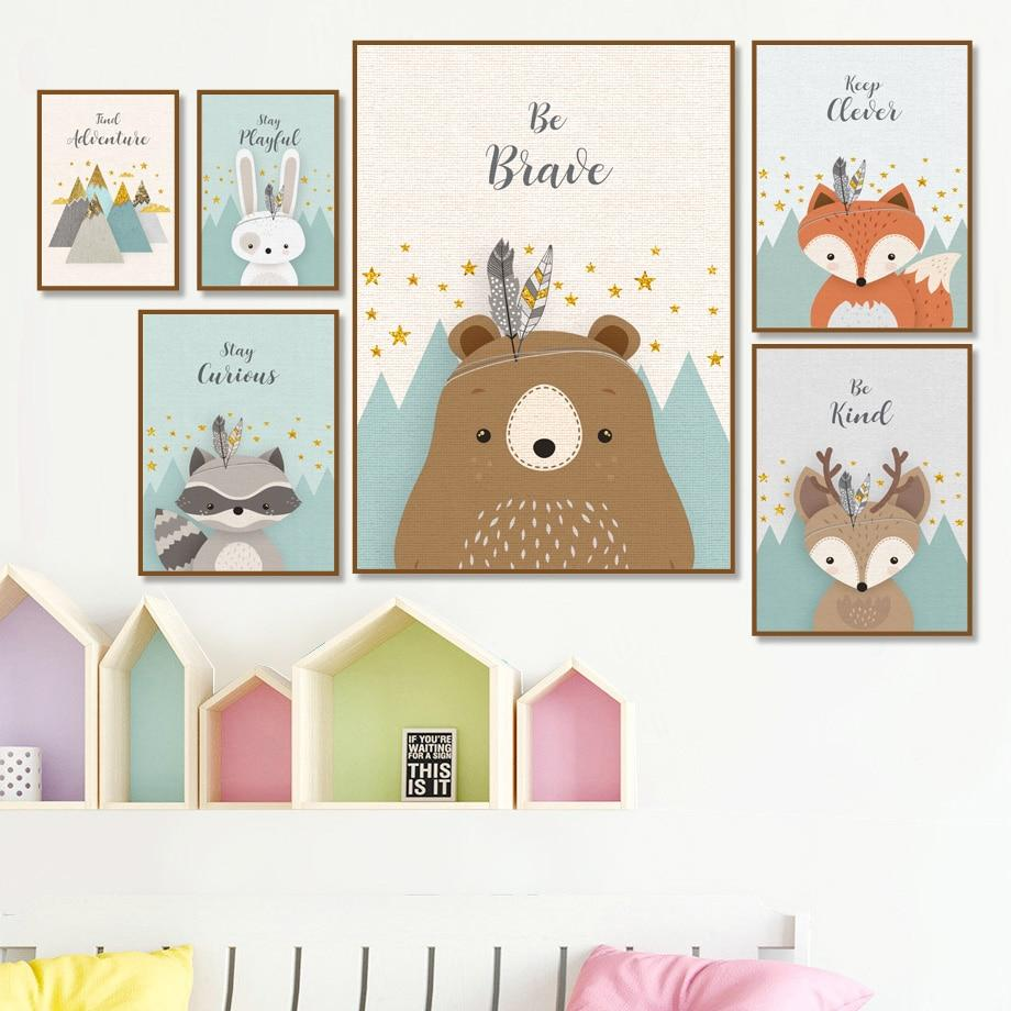 Bear Rabbit Fox Deer Nursery Canvas Wall Art - Lala Lamps Store