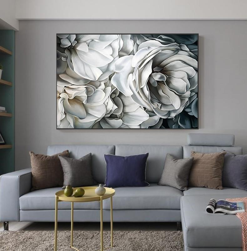 Big White Rose Canvas Wall Art - Lala Lamps Store