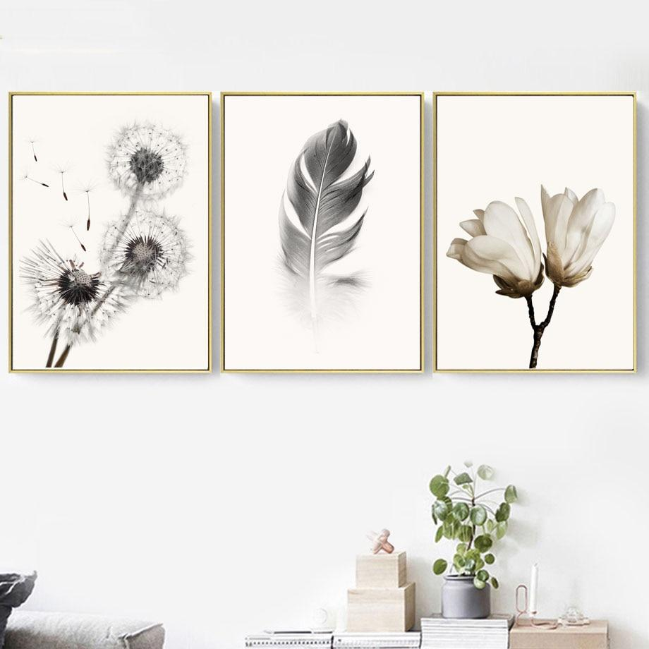 Black White Dandelion Canvas Wall Art - Lala Lamps Store