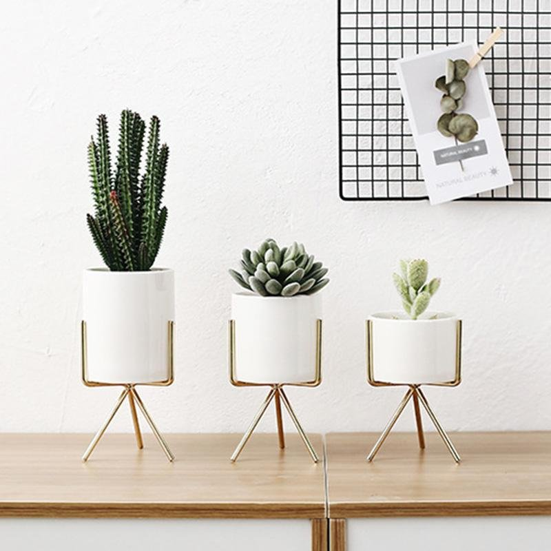 Ceramic Flower Planter with Modern Stand - Lala Lamps Store
