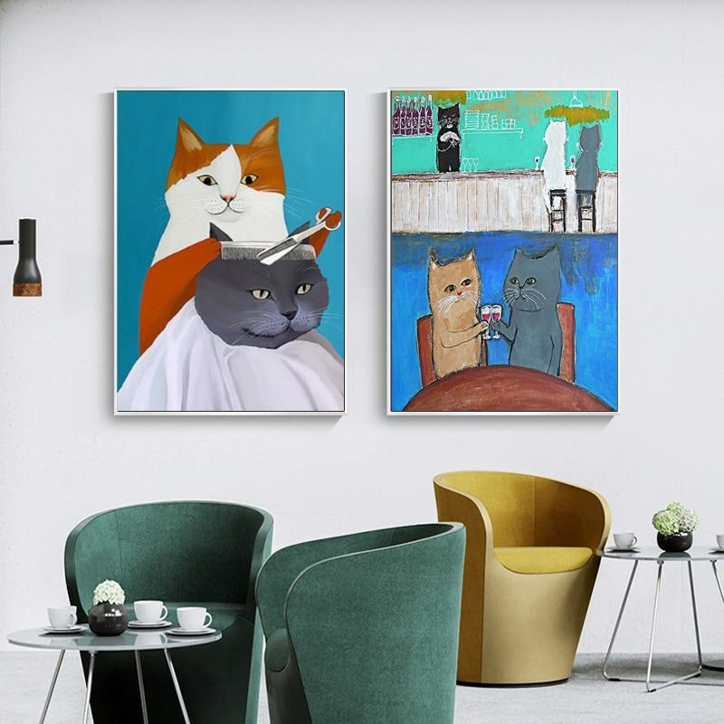 Cute Cat Canvas Wall Art - Lala Lamps Store