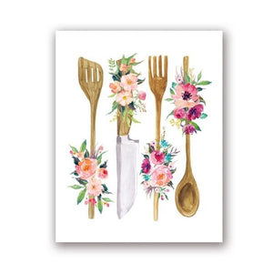 Floral Kitchen Utensil Wall Art - Lala Lamps Store
