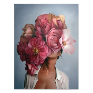 Flowers Feathers Woman Canvas Wall Art - Lala Lamps Store