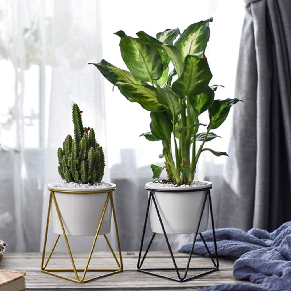 Geometric Ceramic Planter With Stand - Lala Lamps Store