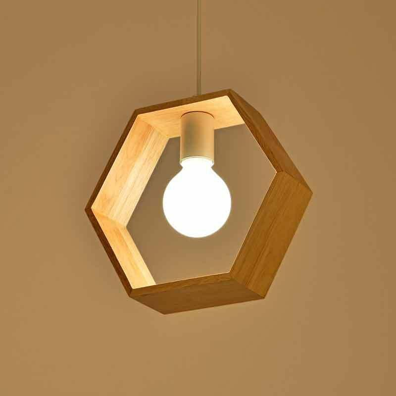 Yasi - Geometric Hanging Wooden Lamp - Lala Lamps Store