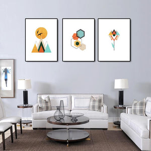 Geometric Multicolored Canvas Walll Art - Lala Lamps Store