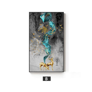 Golden Deer Painting Wall Art - Lala Lamps Store