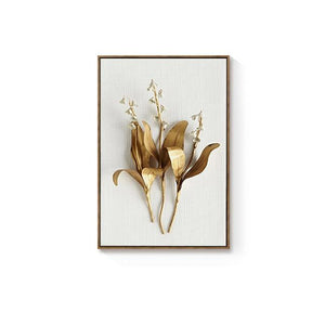 Golden Plant Leaves and Flowers Canvas Wall Art - Lala Lamps Store
