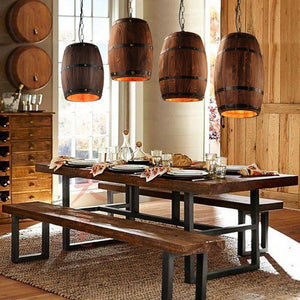 Hanging Wooden Wine Barrel Light - Lala Lamps Store