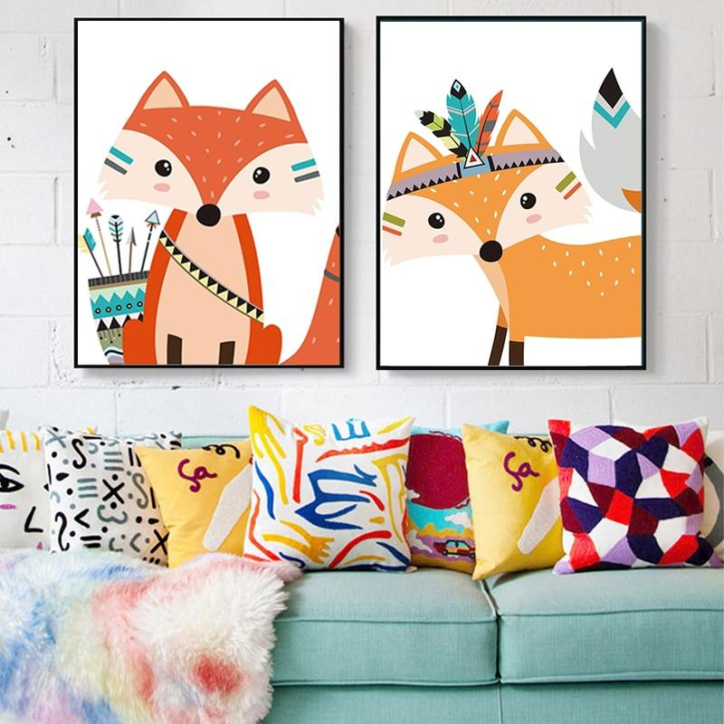 Indian Animal Deer Bear Fox Canvas Wall Art - Lala Lamps Store