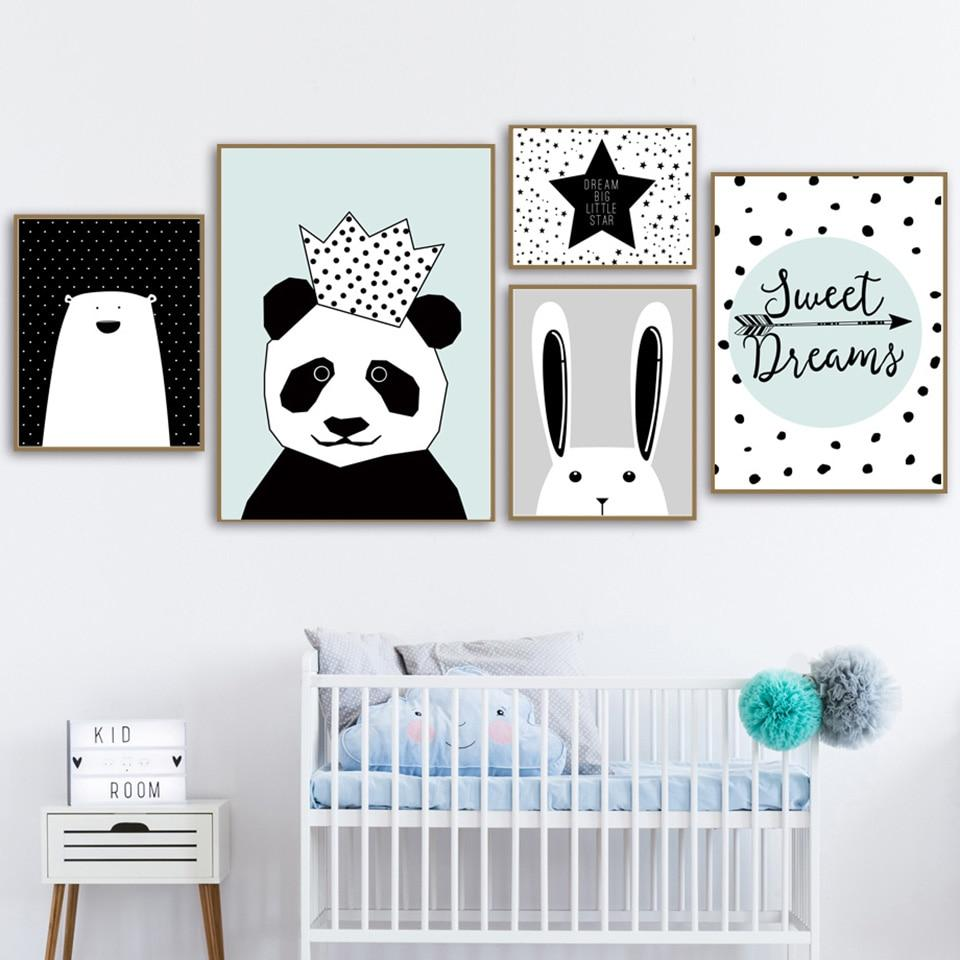 Panda Cartoon Canvas Wall Art - Lala Lamps Store