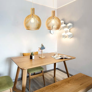 Modern Wood Birdcage Pendant Light - Lala Lamps Store