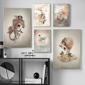 Rabbit Cartoon Girls Boys Canvas Wall Art - Lala Lamps Store