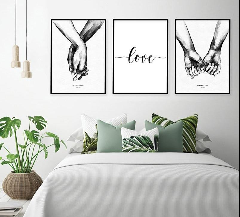 Sweet Love Back & White Canvas Wall Art - Lala Lamps Store