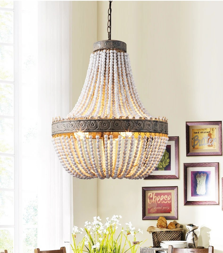 Vintage Wooden Beaded Round Chandelier - Lala Lamps Store