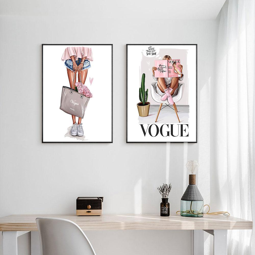 Vogue Girl Canvas Wall Art - Lala Lamps Store