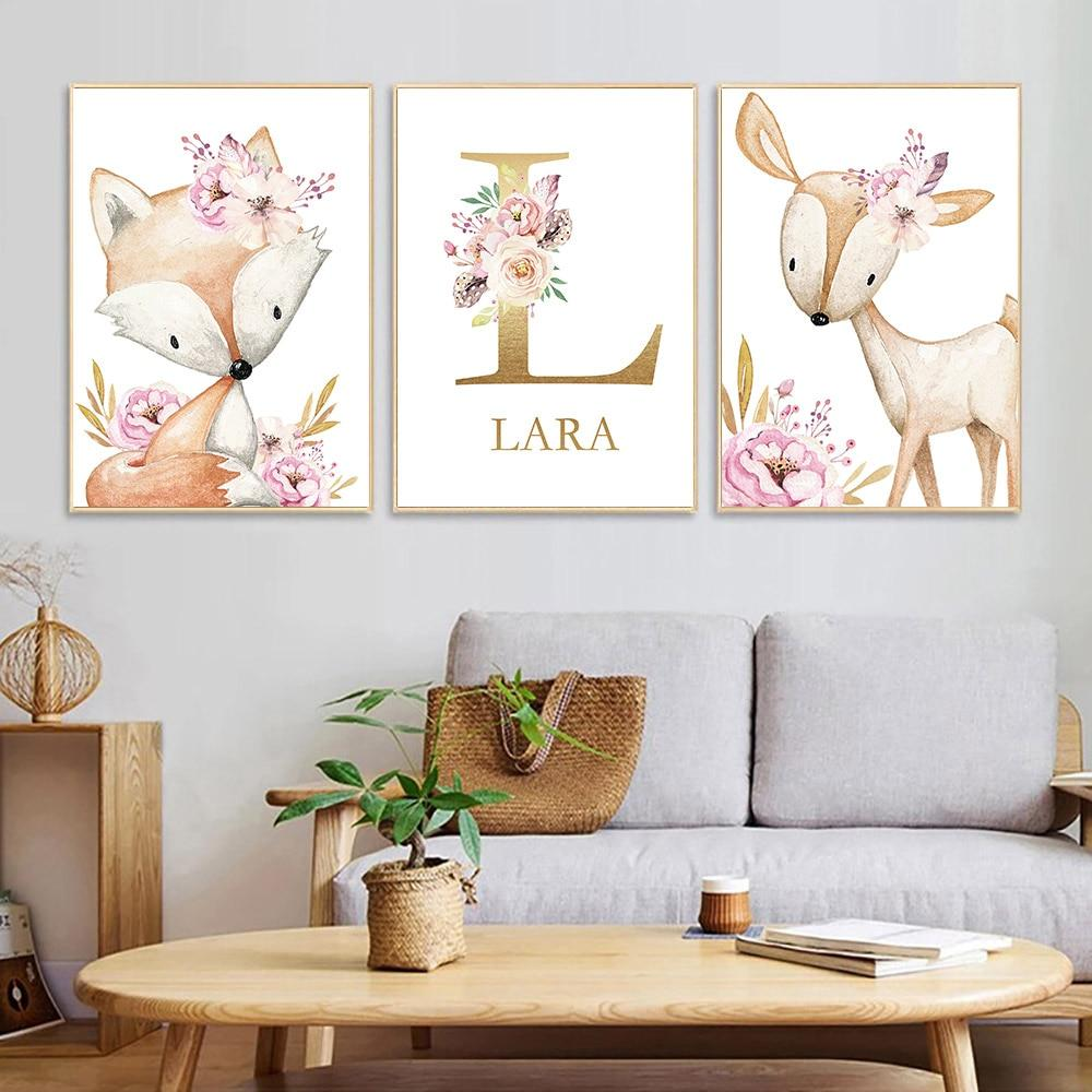 Woodland Animal Nursery Canvase Wall Art - Lala Lamps Store