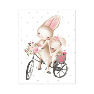 Woodland Bunny Canvas Wall Art - Lala Lamps Store