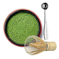 Matcha tea starter pack with measuring spoon and mixer