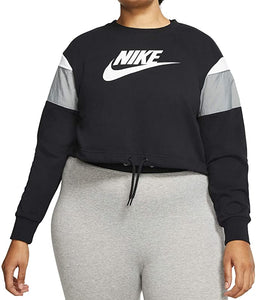 NIKE - Women's Sportswear Heritage Crop Crew Sweatshirt, Black/Grey (Plus Size 1X)