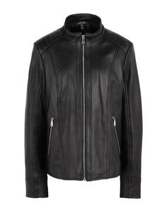 RALPH LAUREN - Women's Motor Biker Lamb Leather Jacket, Black (L)