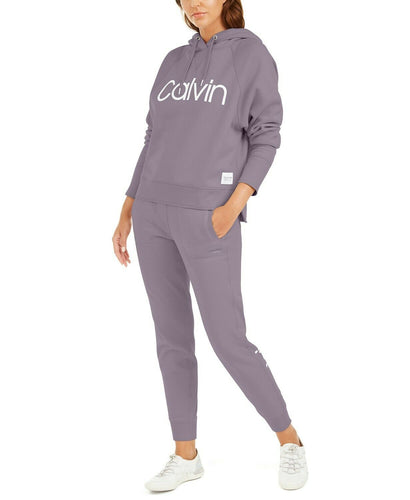 CLAVIN KLEIN Performance - Women's Logo Pullover Hoodie, Purple (Small)