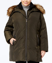 Load image into Gallery viewer, MICHAEL KORS - Faux-Fur-Trim Layered Down Coat Plus Size , Dark Moss (XXL)