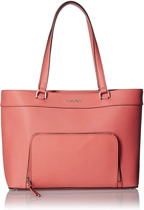 CALVIN KLEIN - Louise Saffiano Leather Key Item Tote (Porcelain Rose)