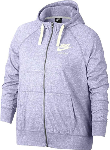 NIKE - Women's Plus Size Gym Vintage Full-Zip Hoodie, Lavender Wash (1X, 3X)