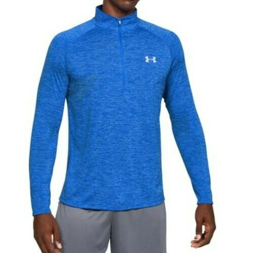 UNDER ARMOUR - Men's Tech 2.0 Half Zip-Up Sweatshirt, Versa Blue (Size XL)