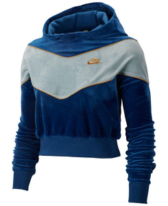 NIKE - Women's Sportswear Heritage Colorblocked Velour Cropped Hoodie (Blue)