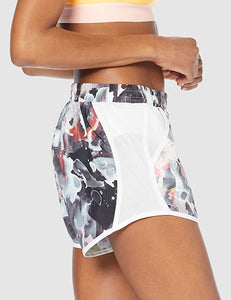 UNDER ARMOUR - Women's Fly-by Printed Running Shorts, Rust Orange (M,L)