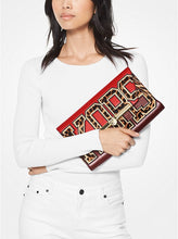 Load image into Gallery viewer, MICHAEL KORS - Bekah Large Animal-print Envelope Clutch In Bright Red Multi/gold